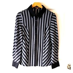 Vintage Blouse Pointy Collar Black White Poly Sz L